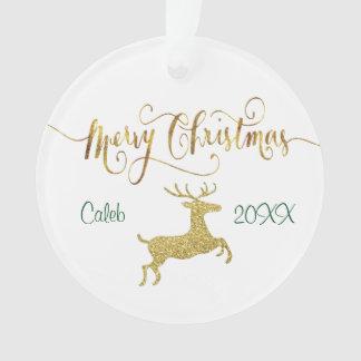 Ornement de Noël personnalisé par renne d'or