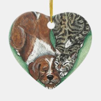 Ornement de Noël Valentine de coeur de chaton de