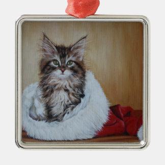Ornement de peinture de chaton de Noël