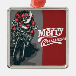 Ornement de Père Noël de moto de Joyeux Noël
