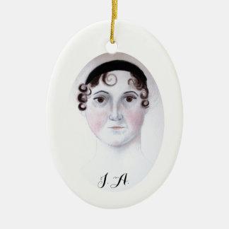 Ornement de porcelaine de portrait d'aquarelle de