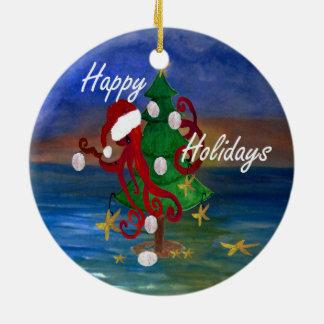 Ornement de poulpe de Noël de Père Noël de mon art