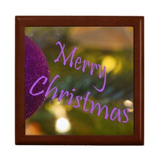 Ornement de rose de Joyeux Noël Boîte À Bijoux