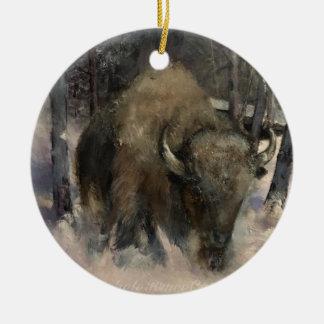 Ornement de scène d'hiver de bison de neige