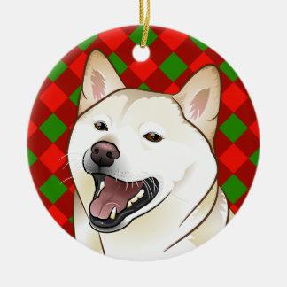 Ornement de Shiba Inu de crème de Joyeux Noël