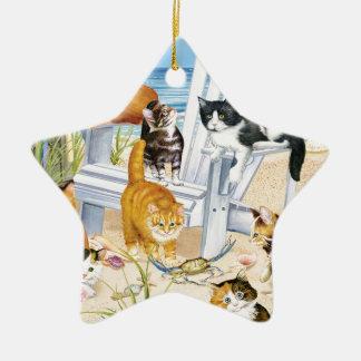 Ornement d'étoile de chatons de plage