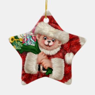 Ornement d'étoile de Noël d'ours de Père Noël