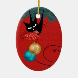 Ornement d'ovale de Joyeux Noël de chat noir
