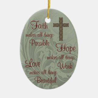 Ornement d'ovale d'espoir et d'amour de foi