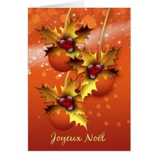Ornement élégant français de carte de Noël de Joye