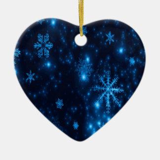 Ornement en céramique de coeur de flocons de neige