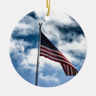 Ornement en céramique de drapeau américain
