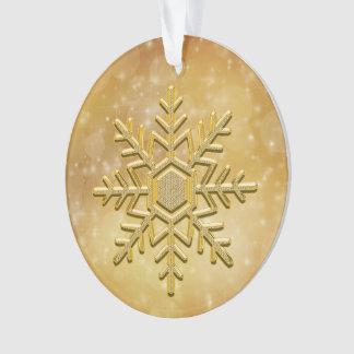 Ornement en céramique de flocon de neige d'or