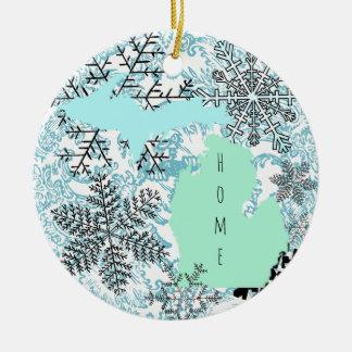 Ornement en céramique de Noël du Michigan