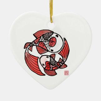 Ornement en céramique de poissons de Koi