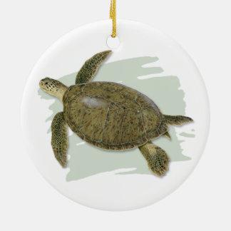 Ornement en céramique de tortue verte