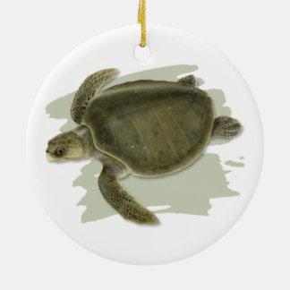 Ornement en céramique olive de tortue de mer de