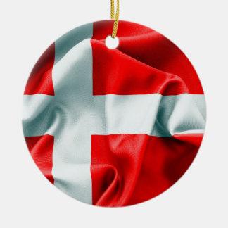 Ornement en céramique rond de drapeau du Danemark