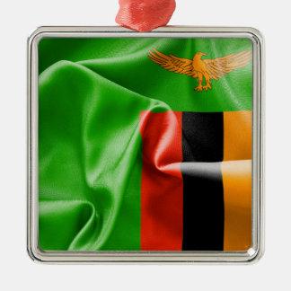 Ornement en métal de carré de drapeau de la Zambie
