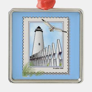 Ornement en métal de carré de phare d'Ocracoke