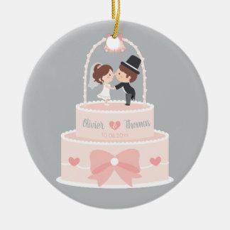 Ornement épatant de gâteau de mariage de jeunes