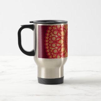 Ornement ethnique tribal rond décoratif mug de voyage en acier inoxydable