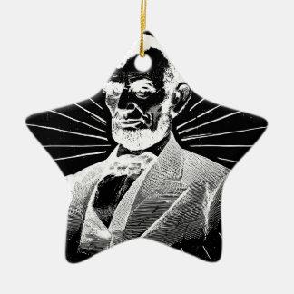 Ornement Étoile En Céramique Abraham Lincoln grunge