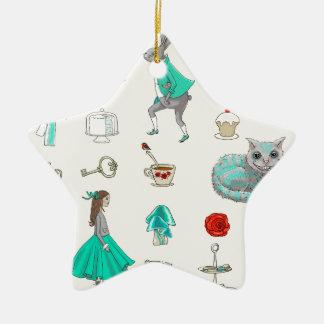Ornement Étoile En Céramique Alice au pays des merveilles