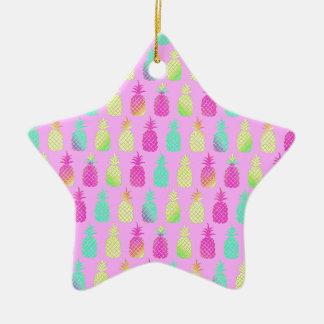 Ornement Étoile En Céramique Ananas en pastel