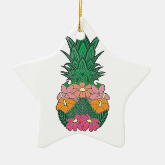 Ornement Étoile En Céramique Ananas fleuri