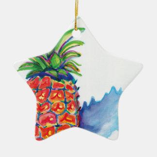 Ornement Étoile En Céramique Ananas tropical