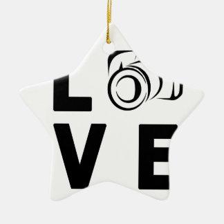 Ornement Étoile En Céramique appareil-photo et amour