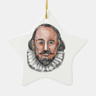 Ornement Étoile En Céramique Aquarelle principale de William Shakespeare