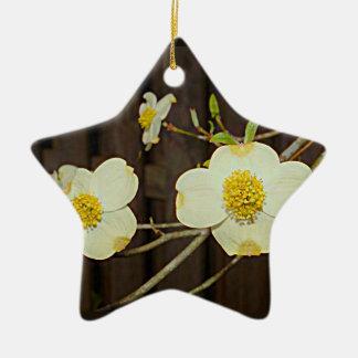 Ornement Étoile En Céramique Arbre de cornouiller de floraison du Missouri