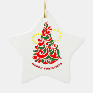 Ornement Étoile En Céramique Arbre de Noël