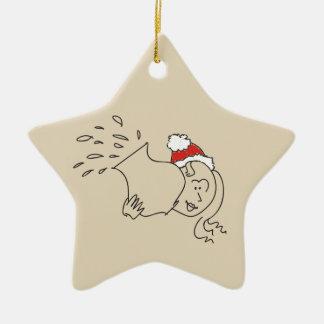 Ornement Étoile En Céramique Astrologie rouge drôle d'étoile de Noël de Verseau