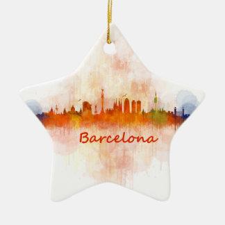 Ornement Étoile En Céramique Barcelone Skyline watercolor v04