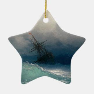 Ornement Étoile En Céramique Bateau sur les mers orageuses, Ivan Aivazovsky