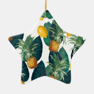 Ornement Étoile En Céramique blanc d'ananas et de citron