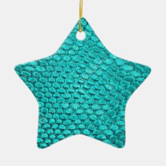 Ornement Étoile En Céramique Bleu de turquoise de reptile