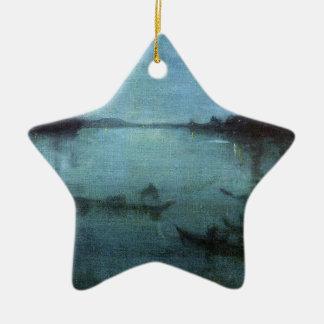 Ornement Étoile En Céramique Bleu et argentez la lagune Venise