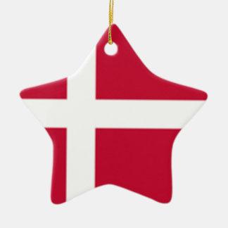 Ornement Étoile En Céramique Bonne copie de drapeau du Danemark de couleur