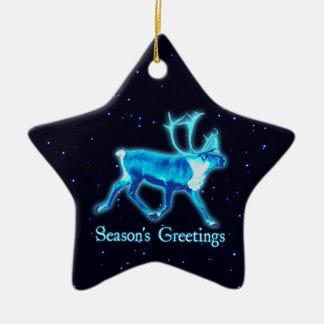 Ornement Étoile En Céramique Bonnes Fêtes - caribou bleu (renne)