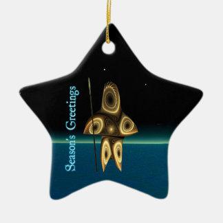 Ornement Étoile En Céramique Bonnes Fêtes - chasseur d'Inuit de fractale de