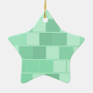 Ornement Étoile En Céramique Briques bleu vert