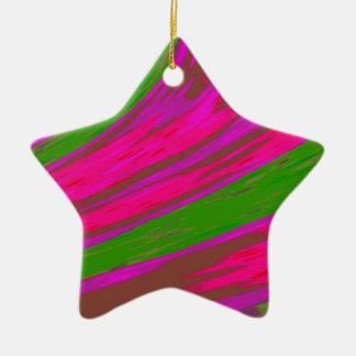 Ornement Étoile En Céramique Bruissement rose lumineux de couleur verte