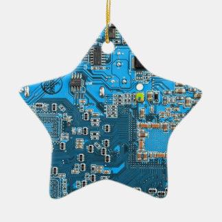 Ornement Étoile En Céramique Carte de geek d'ordinateur - bleu