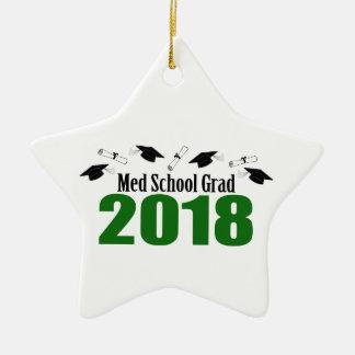 Ornement Étoile En Céramique Casquettes du diplômé 2018 d'école de Med et