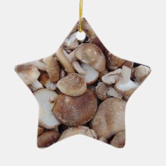 Ornement Étoile En Céramique Champignons de shiitaké