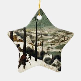 Ornement Étoile En Céramique Chasseurs dans la peinture d'hiver